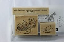 Stampin Up Mounted Used Set of 3 Country Morning 2010 Wood Stamps (no flowers)