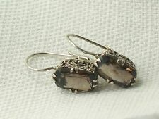 Estate Sterling Silver Filigree Smokey Topaz Leverback CNA Filigree Earrings 925