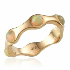 UK S WELO FIRE OPAL 14K Gold over Sterling Silver FULL ETERNITY RING solid 925