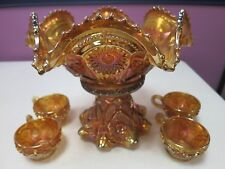VINTAGE IMPERIAL FASHION MARIGOLD CARNIVAL GLASS PUNCH BOWL AND 4 CUPS