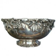 HOLLY BY WHITING STERLING SILVER PUNCH BOWL APPLIED HOLLY LEAVES & BERRIES #0203