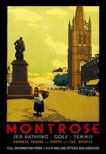 Art Ad Montrose Sea Bathing Golf Tennis Train Rail Travel Railway  Poster Print