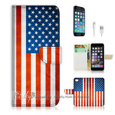 """iPhone 6 (4.7"""") Print Flip Wallet Case Cover! USA Flag P0013"""