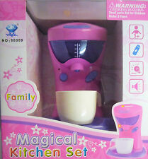 Pink Toy Coffee Maker Machine. With light & Sound. Magical Kitchen Set Range.