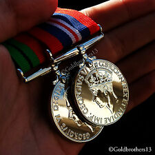 War Medal & Defence Medal WW2 British Campaign Military Medals 1945 Repro..