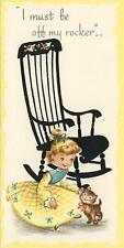VINTAGE BLONDE GIRL CHILD CAT KITTEN BLACK ROCKING CHAIR GREETING CARD ART PRINT