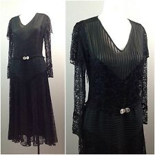 Vintage 1930s Black Semi Sheer Floral Lace Tea Length Belted Dress Art Deco M
