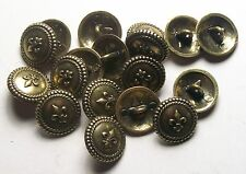 Pack of 8 16mm fleur de lis Antique Gold Metal Military style Button   2009