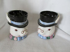 QTY OF 2 FITZ & FLOYD 1991 RABBIT MUGS/CUPS EYEGLASSES W/PINK BLUE WHITE FACE