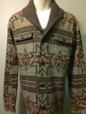 Vtg Ralph Double RL RRL Shawl Cardigan Sweater Shirt Blanket Jacket Mens M Print