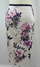 NEW MONSOON SKIRT Grey lilac purple FLORAL PRINT  PENCIL STRAIGHT WIGGLE SIZE 8