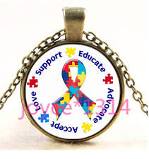 Autism Spectrum Ribbon Cabochon bronze Glass Chain Pendant Necklace TS-3953