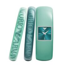 EMPORIO ARMANI AR7367 Fashion Turquoise Watch Two Bangles Limited Set BRAND NEW