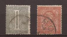 1863-1866 V. E. II - De La Rue - c. 1 + c. 2 USATI CON ANNULLI NOMINATIVI A DATA