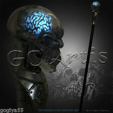 CRYSTAL HUMAN SKULL with Night Glow Brain WALKING STICK CANE Maltese cross Staff