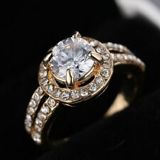 Wedding Bridal Jewelry Engagement Ring Cubic Zirconia Gold Size 8 Women Gift New