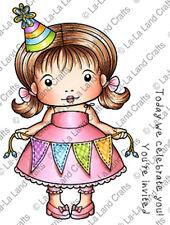 New La La Land Crafts CELEBRATE YOU MARCI Rubber Stamp Girl Birthday Party Happy