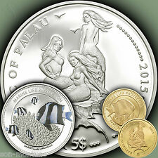 Silver+Gold 2 Coin Set - WHITETAIL DAMSELFISH Marine Life Protection 2015 PALAU