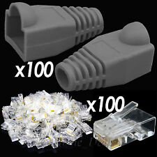 100x RJ45 Cat5e Network Cable Grey Boots & 100x Ethernet Wire End Connectors