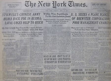 U.S. SEIZE PLANE PLANTS - CHINA BURMA LAVAL REICH  NY TIMES 4-1942 WWII April 21