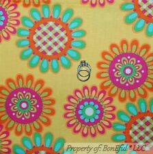 BonEful Fabric FQ Cotton Quilt Bright Yellow Pink Blue Green White Flower Dot US
