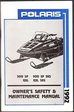1992 POLARIS SNOWMOBILE 500 SP, RXL, & RXL SKS OWNERS/MAINTENANCE MANUAL (848)