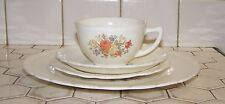 4 Piece Place Setting Cremax W/ Floral Decal MacBeth-Evans Depression Glass.