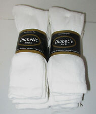 NWT DIABETIC SOCKS 12 PAIR WHITE SIZE 13/15  NON- BINDING TOP ( MADE IN U.S.A.)