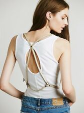 FREE PEOPLE Soho Leather Harness Vest Belt IVORY New One Size fits Most New