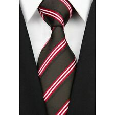 Brown Hand Woven 100% Pure Silk Neck Tie with Red and White Stripes