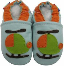 carozoo helicopter light blue 18-24m soft sole leather baby shoes