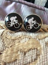 FREE GIFT BAG Mens Silver Bicycle Cyclist Cycling Cufflinks Cuff Links Jewelry