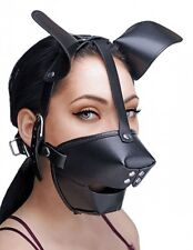 DOG PUPPY MUZZLE MASK half face mouth ball gag cover hood head costume black