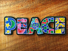 New Peace sign hippie boho retro flower love hippy applique iron on patch