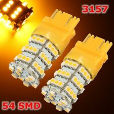 2Pcs 3157 54 SMD Chips LED Amber Yellow Turn Signal Light Bulb Lamp DC 12V