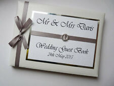 PERSONALISED WEDDING GUEST BOOK WITH DIAMONTE BUCKLE (SILVER) - ANY COLOUR