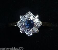 Antique Art Deco 18ct Gold Platinum Sapphire & Diamond Ring, Size P, US 7 1/2