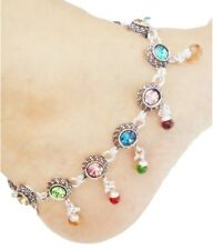 Silever Color With Multicolor Stone Pair of Anklets for girl gifts