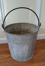 Vintage Galvanized Metal Bucket Pail Primitive Planter Rustic Shabby Garden Deco