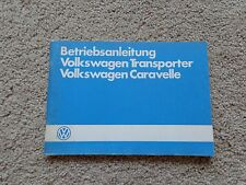 1985 Volkswagen Transporter and Caravelle Owners Manual - PRISTINE In German