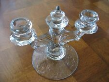 "Depression Glass"" Crous Foot Crystal Candle Sticks Paden City Class Com."