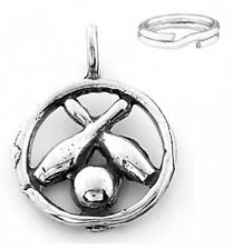 "STERLING SILVER ""BOWLING PIN AND BALL "" CHARM WITH ONE SPLIT RING"