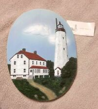 """LIGHTHOUSE 8"""" Oval Wall Decor Plaque Raised Relief Ceramic SANDY HOOK New Jersey"""