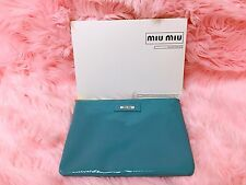 MIU MIU Clutch Large Leather Pouch Blue Teal Turquoise Patent Makeup Bag