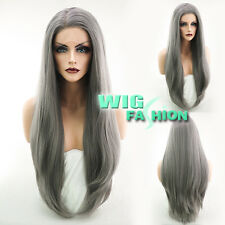 "24"" Long Straight Silver Grey Lace Front Synthetic Wig Heat Resistant"