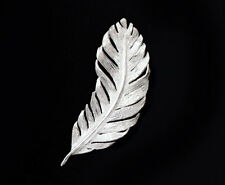925 Sterling Silver Feather Pendant  14x38 mm.