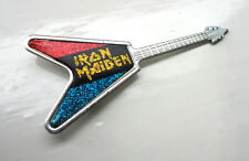 Vintage Iron Maiden pin badge Heavy Rock Guitar circ 1980's