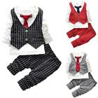 3pcs Gentleman Newborn baby boy Waistcoat + Pants+ Shirt Outfit clothes set Suit