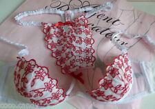 naughty Agent Provocateur 36D 1/4 cup bra & thong white Broiderie Anglais
