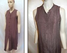 Eileen Fisher Cocoa Brown Long Silk Duster Tunic Dress M